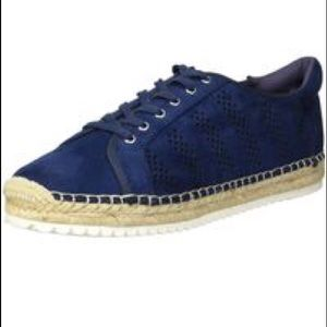 Marc Fisher Blue Baila Perforated Espadrilles